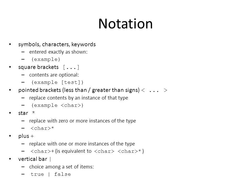 Notation symbols, characters, keywords square brackets [...]
